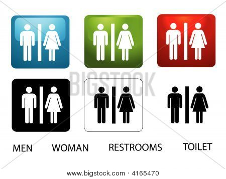 Women'S And Men'S Toilets On White