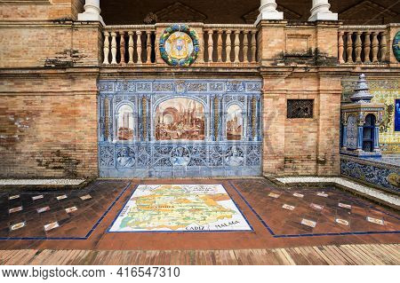Seville, Spain - 07 April, 2019: The Mosaic Panno On The Walls Of The Plaza De Espana In Seville, A