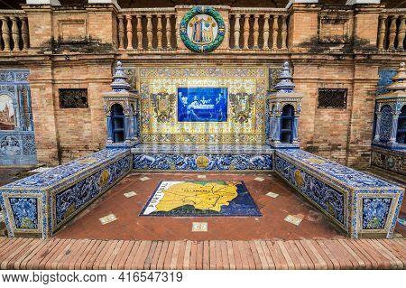 Seville, Spain - 07 April, 2019: The Tiled Provincial Alcove Along The Walls Of The Plaza De Espana