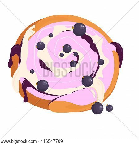 Vector Illustration Of A Bun With Jam, Cream And Blackcurrant Berries On Top, Isolated On A White Ba