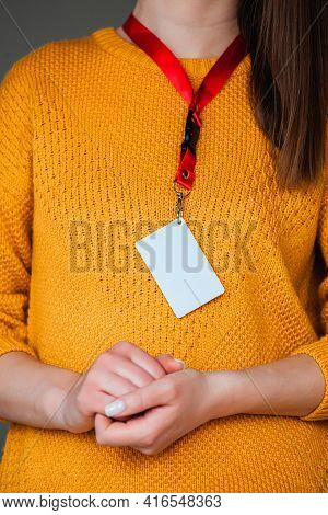 Woman Holding Badge Name Tag, With Blank Space Mock Up