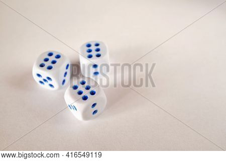 Dice  N White Background. Collection Of Dice Cubes
