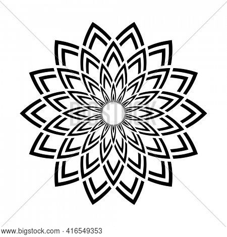 Abstract decorative geometric circle floral pattern.