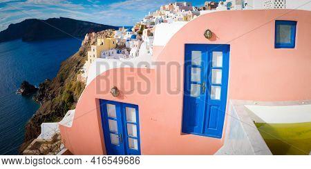 Blue door and window  in Santorini. Oia Village, Greece