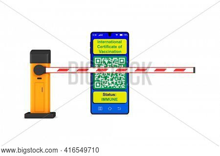 automatic barrier and digital passport of vaccination in phone on white background. Isolated 3D illustration