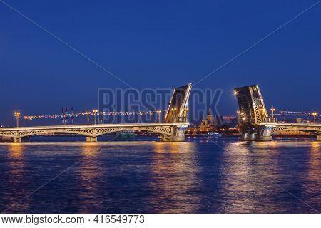 Neva river and open Blagoveshchensky Bridge - St. Petersburg Russia