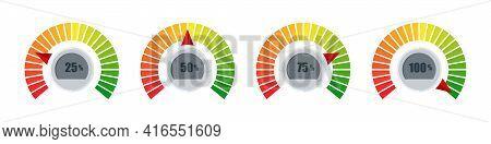 Gauges. Risk Level Gauge. Level Indicator. Performance Measurement. Vector Illustration