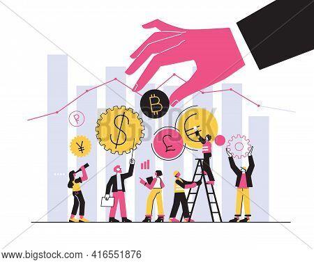 Vector Illustration, Cryptocurrency Miner, Trader, Stock Exchange Digital Currency Exchange. Finance