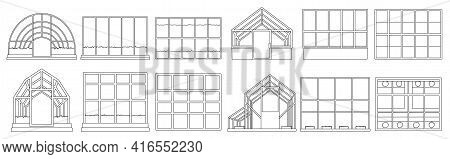 Greenhouse Vector Illustration On White Background. Isolated Outline Set Icon Glasshouse. Vector Out
