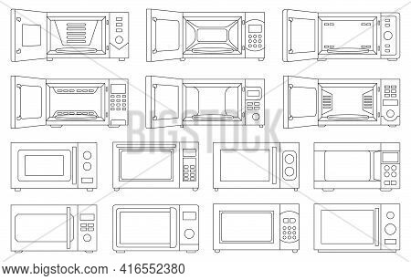 Microwave Vector Outline Set Icon.isolated Outline Set Icon Microwave. Vector Illustration Oven On W