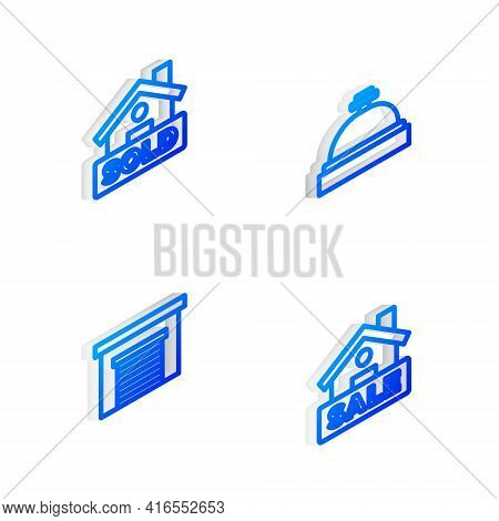 Set Isometric Line Hotel Service Bell, Hanging Sign With Text Sold, Garage And Sale Icon. Vector