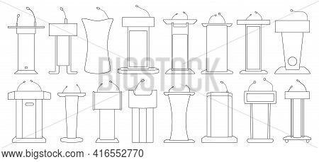 Tribunal Of Of Podium Outline Vector Illustration On White Background . Rostrum And Podium Set Icon.