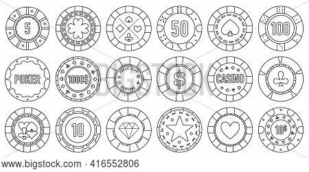 Casino Chips Vector Outline Set Icon. Vector Illustration Vegas Game On White Background. Isolated O