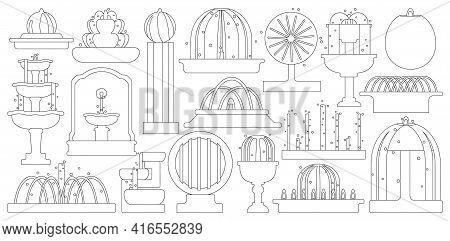 Fountain Isolated Outline Set Icon. Vector Illustration Waterfall On White Background. Vector Outlin