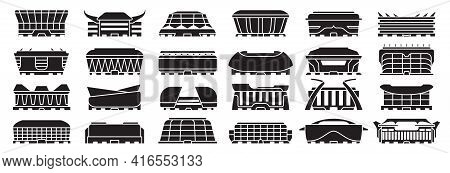 Sport Arena Vector Illustration On White Background. Isolated Black Set Icon Stadium. Vector Black S
