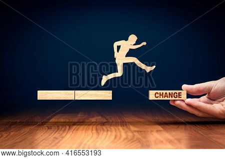 Change Is Your Chance Motivational Concept. Mentor Motivate To Do Change Like A Big Jump Metaphor.
