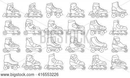 Skate Roller Vector Outline Set Icon. Vector Illustration Rollerskate On White Background. Isolated