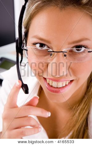 Top View Of Smiling Service Provider
