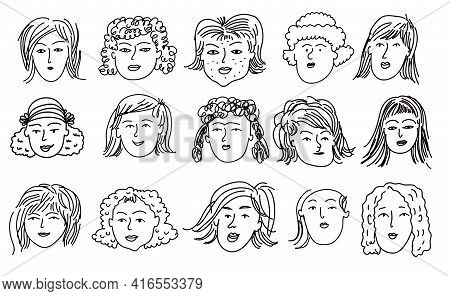 Hand Drawn Human Faces Doodle  In Cartoon Style. Funny Characters. Women, Girl, Mother, Old Lady. Fu