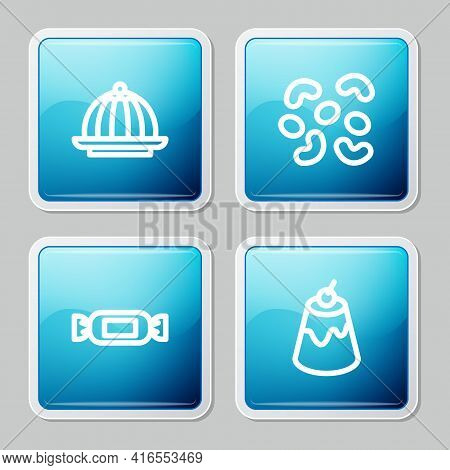Set Line Pudding Custard, Jelly Candy, Candy And Icon. Vector
