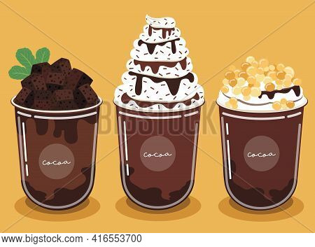 Cocoa Shake Set Garnish With Brownies And Chocolate Sauce. And The Chewy Golden Pearls And Delicious