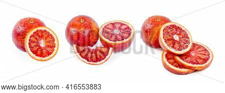 Bloody Oranges Whole, Cut In Half And Sliced Isolated On White Background. Red Sicilian Orange Fruit