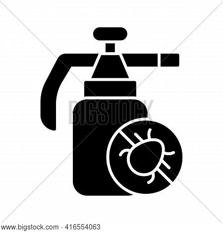 Pesticides Black Glyph Icon. Substances That Are Meant To Control Pests. Protecting Farm And Garden