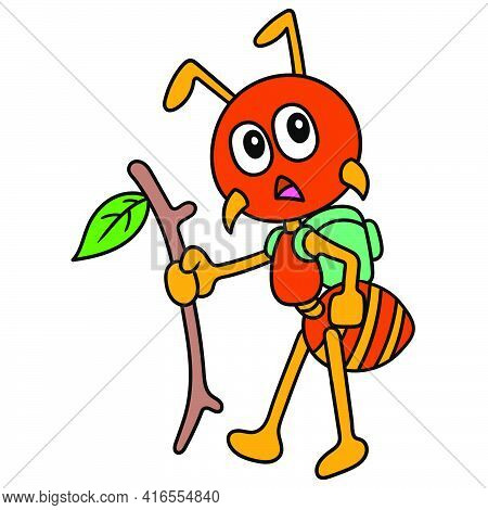 Explorer Ants Are On An Adventure Looking For Clues, Doodle Draw Kawaii. Vector Illustration Art