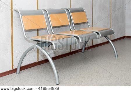Waiting Room No People. Chairs In Row In Waiting Space In Office Hall Or Airport Lounge. Hospital Mo