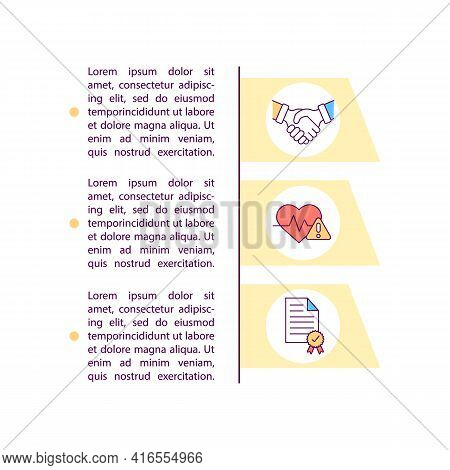 Informed Consent Concept Line Icons With Text. Ppt Page Vector Template With Copy Space. Brochure, M