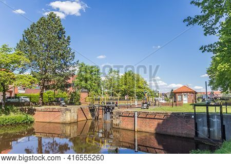 Haren, Germany - May 09, 2020: Historic Lock In The Center Of Haren, Germany