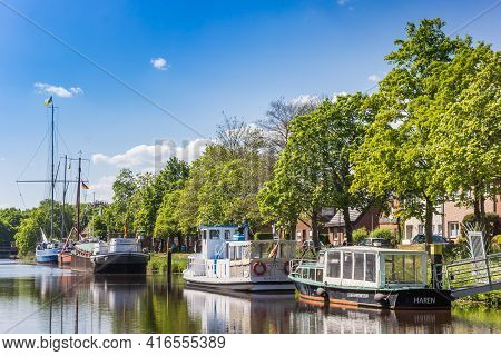Haren, Germany - May 09, 2020: Boats At The Quayside Of The Canal In Haren, Germany