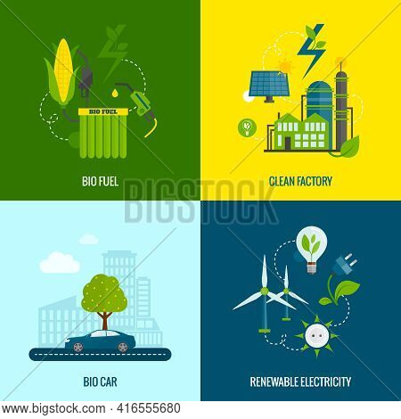 Eco Bio Car Fuel And Clean Renewable Electricity Production 4 Flat  Icons Composition Abstract Vecto