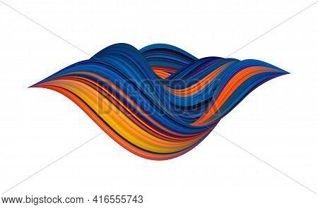 3d Twisted Colorful Flow Liquid Shape. Acrylic Paint Sroke.