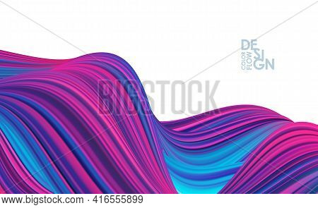 Modern Abstract Banner Background With 3d Twisted Color Flow Liquid Shape. Acrylic Paint Design