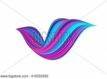3d Twisted Colorful Flow Liquid Shape On White Background. Acrylic Paint Sroke.