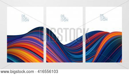 Set Of Three Colorful Flow Poster Backgrounds. Modern Design.