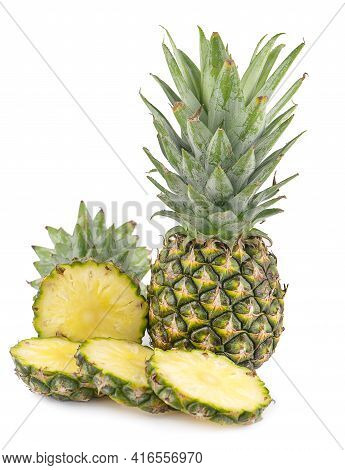 Whole Pineapple And Pineapple Slice. Pineapple With Leaves Isolate On White Background