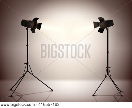 Standing Strobe Tripods Electrical Spotlights Professional Photograph Equipment Realistic Background