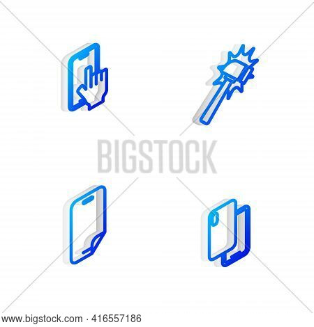Set Isometric Line Hammer, Phone Repair Service, Glass Screen Protector And Smartphone Icon. Vector