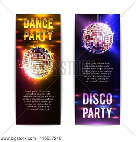 Disco Party Banners Vertical Set With Bright Club Balls Isolated Vector Illustration