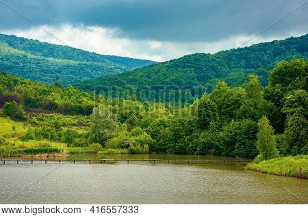 Mountain Scenery With Lake In Spring. Wonderful Rural Landscape With Deciduous Trees On The Shore. C