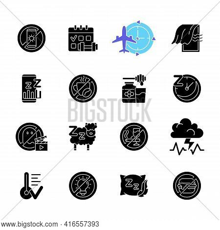 Insomnia Causes Black Glyph Icons Set On White Space. Reasons For Bad Sleep. Avoid Sleeplessness. No