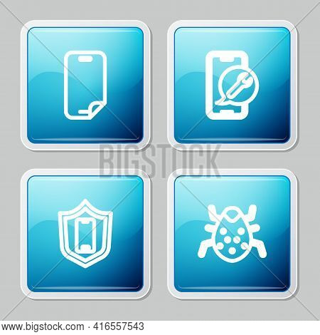 Set Line Glass Screen Protector, Mobile Service, With Shield And System Bug Icon. Vector