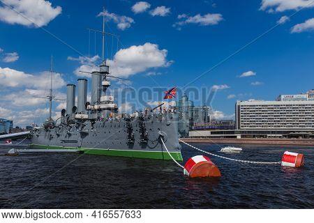 Saint-Petersburg, Russia - July 27, 2020: Aurora cruiser museum ship on Neva river.