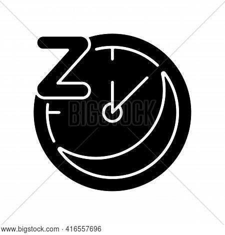 Regularity Black Glyph Icon. Sleep Schedule. Nighttime On Clock. Bedtime On Watch Dial. Overnight Re