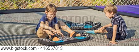 Banner, Long Format Happy Boys On A Soft Board For A Trampoline Jumping On An Outdoor Trampoline, Ag