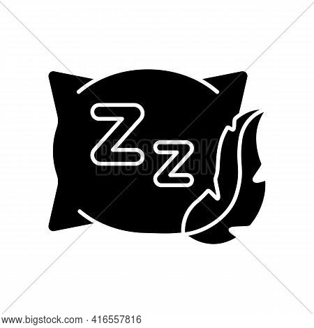Comfortable And Fresh Pillow Black Glyph Icon. Orthopedic Cushion For Bedtime. Fluffy Textile To Imp