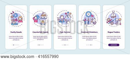 Consumer Rights Violation Claims Onboarding Mobile App Page Screen With Concepts. Poor Service Walkt