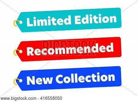 Limited Edition, Recommended, New Collection Retail Tag Set. Promotion Retail Label With Special Sto